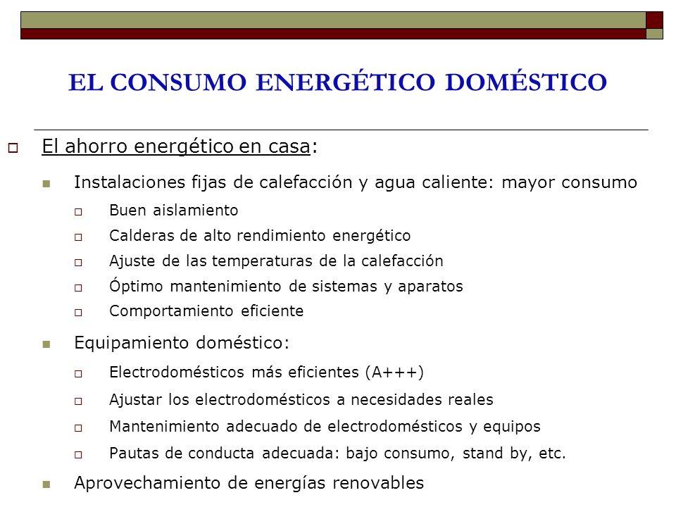 EL CONSUMO ENERGÉTICO DOMÉSTICO El ahorro energético en casa: Instalaciones fijas de calefacción y agua caliente: mayor consumo Buen aislamiento Calde