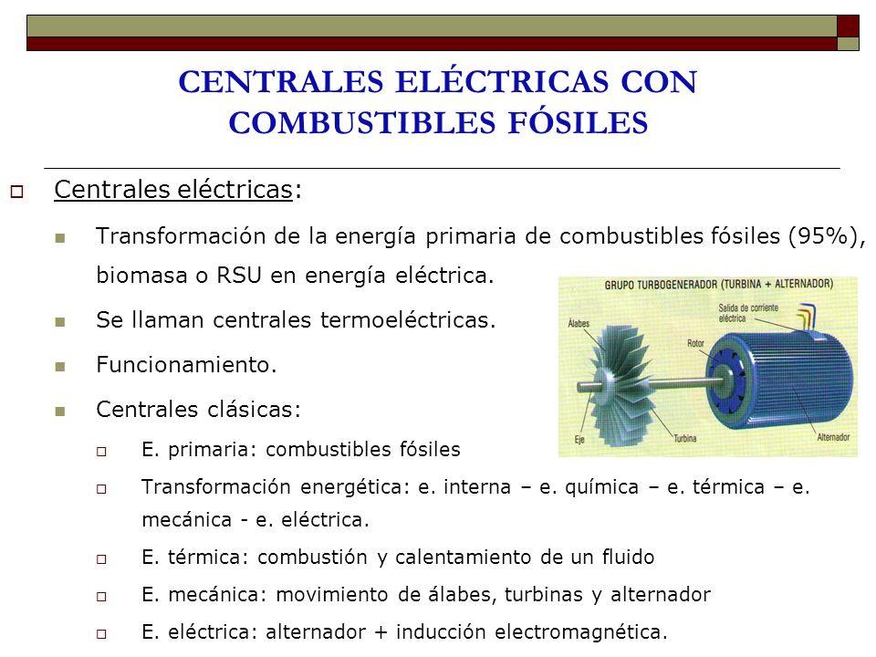 CENTRALES ELÉCTRICAS CON COMBUSTIBLES FÓSILES Centrales eléctricas: Transformación de la energía primaria de combustibles fósiles (95%), biomasa o RSU