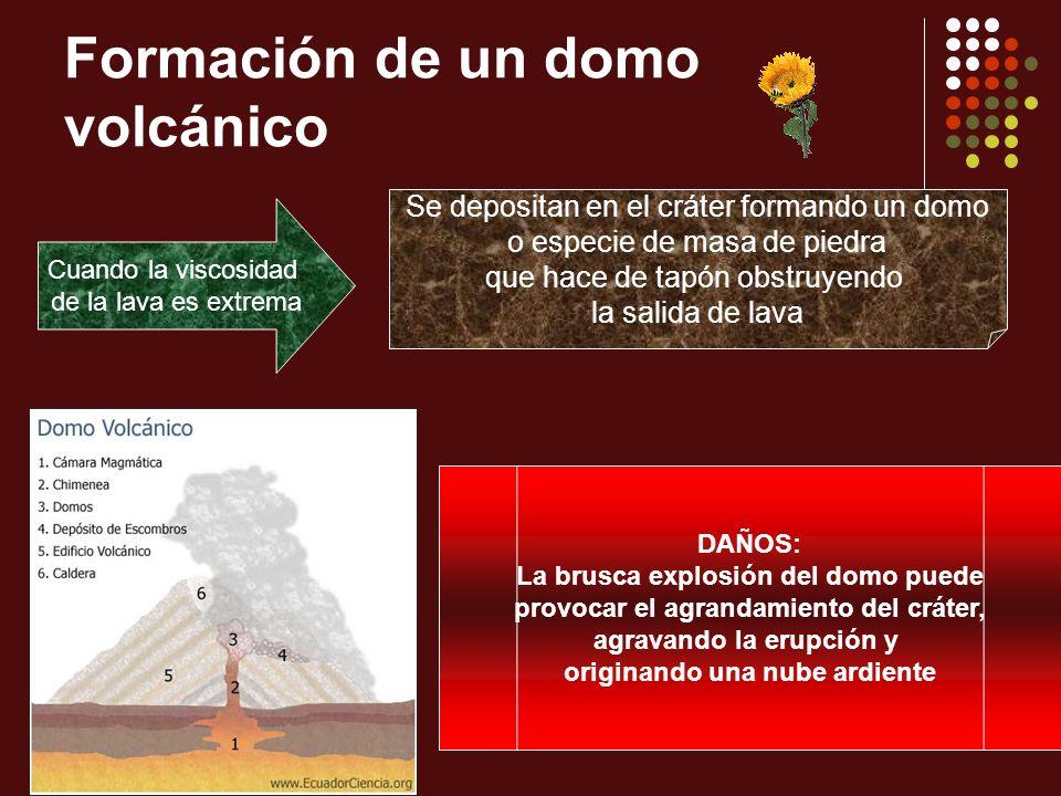 Formación de un domo volcánico Cuando la viscosidad de la lava es extrema Se depositan en el cráter formando un domo o especie de masa de piedra que h