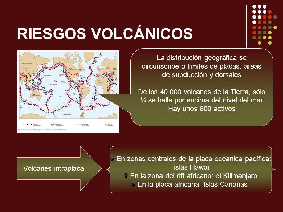RIESGOS VOLCÁNICOS La distribución geográfica se circunscribe a límites de placas: áreas de subducción y dorsales De los 40.000 volcanes de la Tierra,