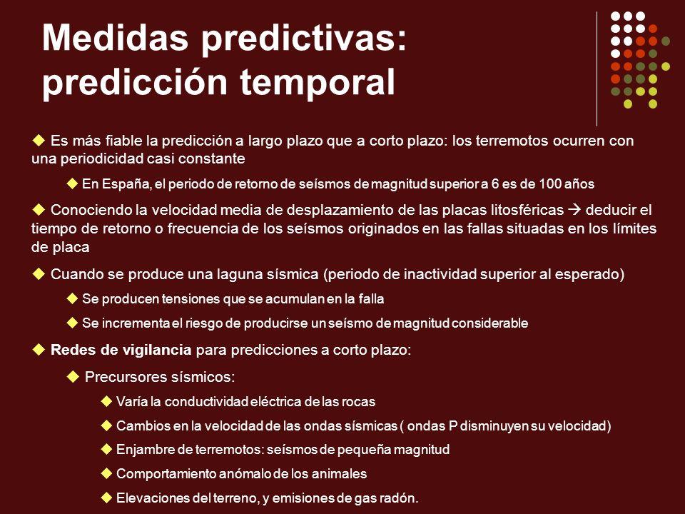 Medidas predictivas: predicción temporal Es más fiable la predicción a largo plazo que a corto plazo: los terremotos ocurren con una periodicidad casi