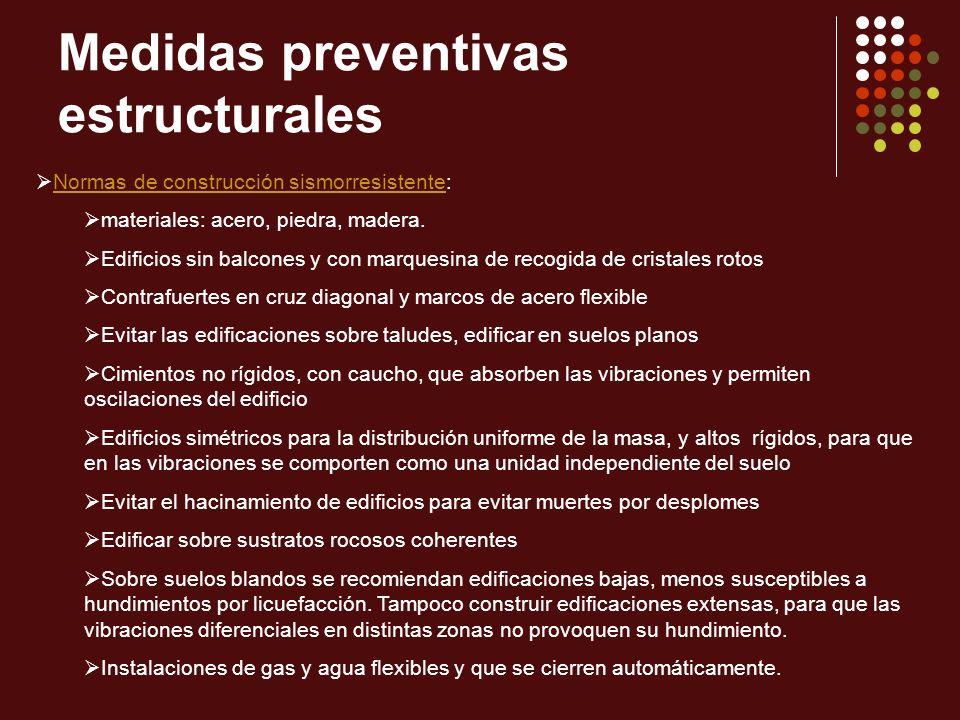 Medidas preventivas estructurales Normas de construcción sismorresistente:Normas de construcción sismorresistente materiales: acero, piedra, madera. E