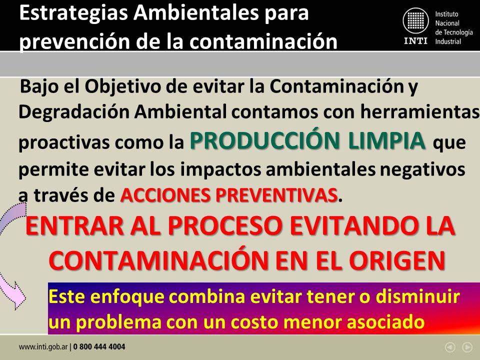 Estrategias Ambientales para prevención de la contaminación PRODUCCIÓN LIMPIA ACCIONES PREVENTIVAS Bajo el Objetivo de evitar la Contaminación y Degra