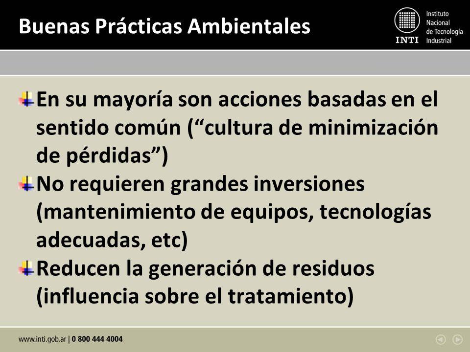 Buenas Prácticas Ambientales En su mayoría son acciones basadas en el sentido común (cultura de minimización de pérdidas) No requieren grandes inversi