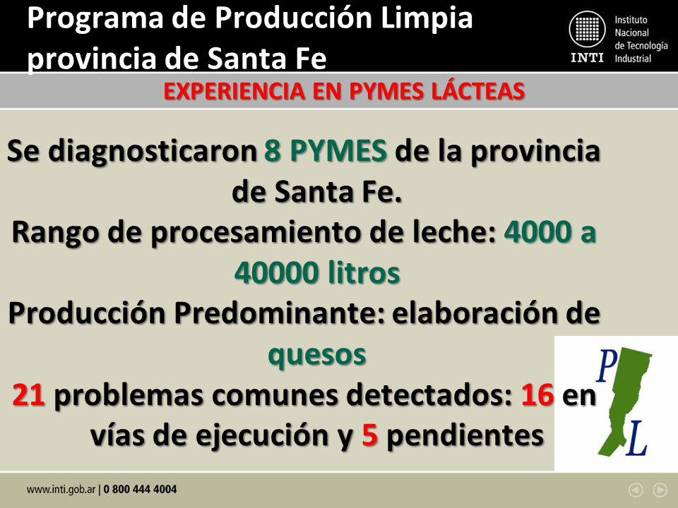 Programa de Producción Limpia provincia de Santa Fe Se diagnosticaron 8 PYMES de la provincia de Santa Fe. Rango de procesamiento de leche: 4000 a 400