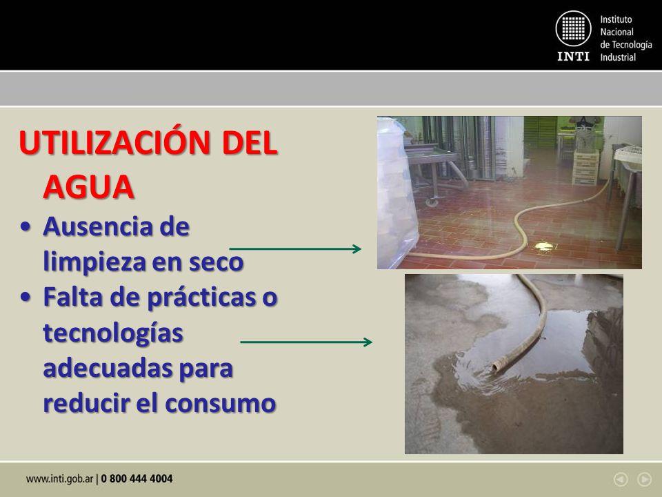 UTILIZACIÓN DEL AGUA Ausencia de limpieza en secoAusencia de limpieza en seco Falta de prácticas o tecnologías adecuadas para reducir el consumoFalta de prácticas o tecnologías adecuadas para reducir el consumo