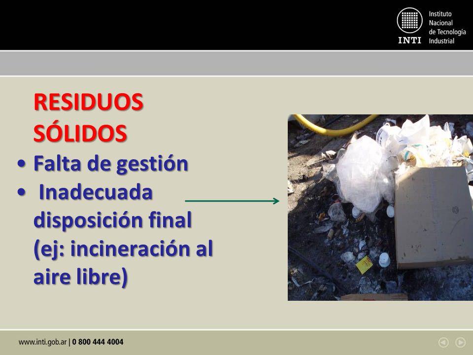RESIDUOS SÓLIDOS RESIDUOS SÓLIDOS Falta de gestiónFalta de gestión Inadecuada disposición final (ej: incineración al aire libre) Inadecuada disposició