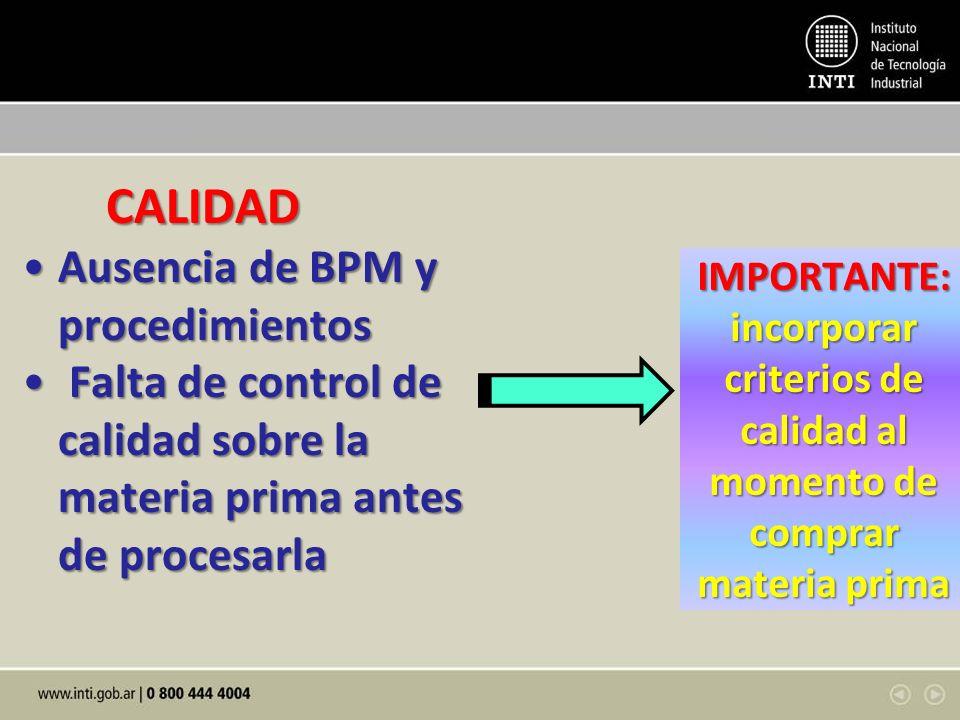 CALIDAD CALIDAD Ausencia de BPM y procedimientosAusencia de BPM y procedimientos Falta de control de calidad sobre la materia prima antes de procesarl