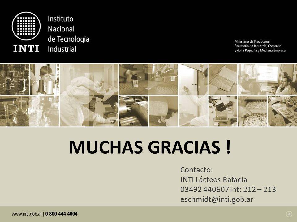 Contacto: INTI Lácteos Rafaela 03492 440607 int: 212 – 213 eschmidt@inti.gob.ar MUCHAS GRACIAS !
