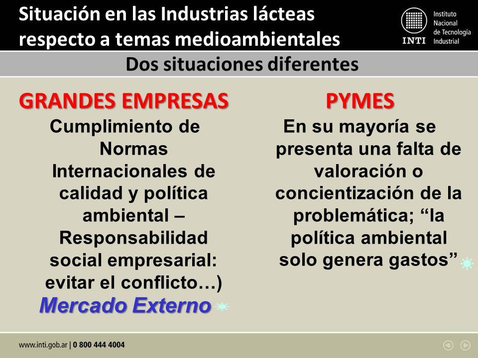 Situación en las Industrias lácteas respecto a temas medioambientales GRANDES EMPRESAS Cumplimiento de Normas Internacionales de calidad y política am
