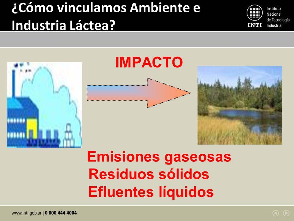 ¿Cómo vinculamos Ambiente e Industria Láctea? IMPACTO Emisiones gaseosas Residuos sólidos Efluentes líquidos