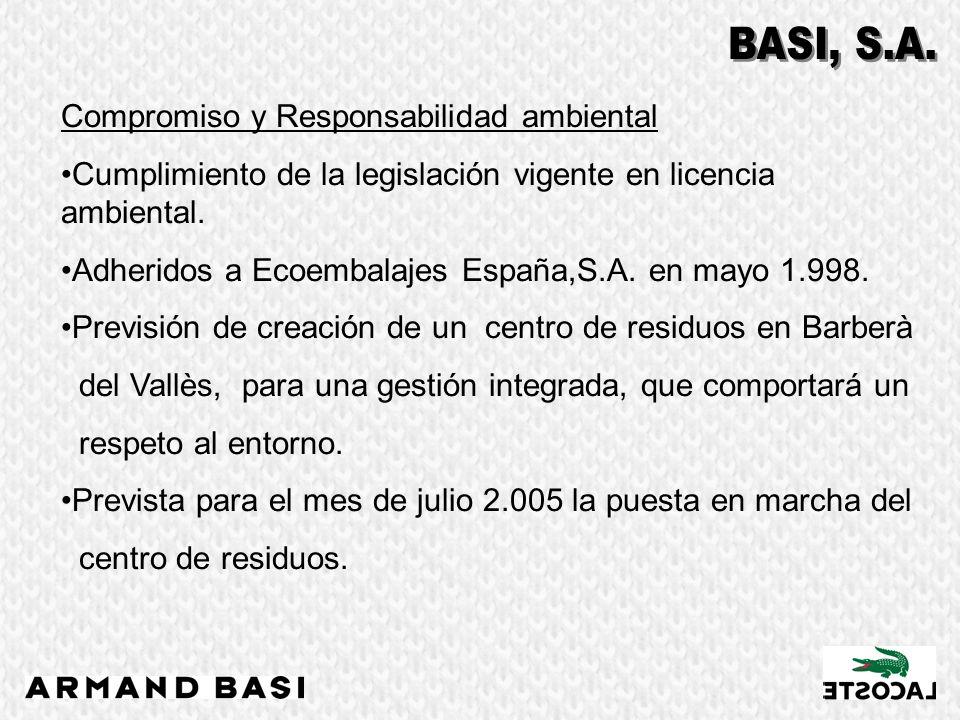 Compromiso y Responsabilidad ambiental Cumplimiento de la legislación vigente en licencia ambiental. Adheridos a Ecoembalajes España,S.A. en mayo 1.99