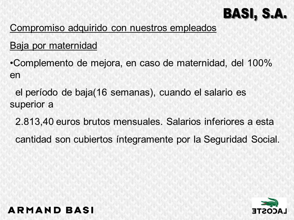 Compromiso adquirido con nuestros empleados Baja por maternidad Complemento de mejora, en caso de maternidad, del 100% en el período de baja(16 semana