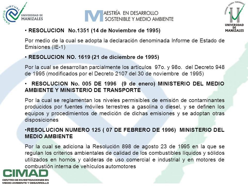 RESOLUCION No.1351 (14 de Noviembre de 1995) Por medio de la cual se adopta la declaración denominada Informe de Estado de Emisiones (IE-1) RESOLUCION NO.