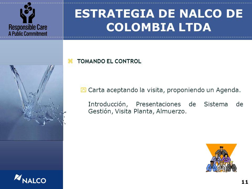 11 ESTRATEGIA DE NALCO DE COLOMBIA LTDA zTOMANDO EL CONTROL yCarta aceptando la visita, proponiendo un Agenda. Introducción, Presentaciones de Sistema