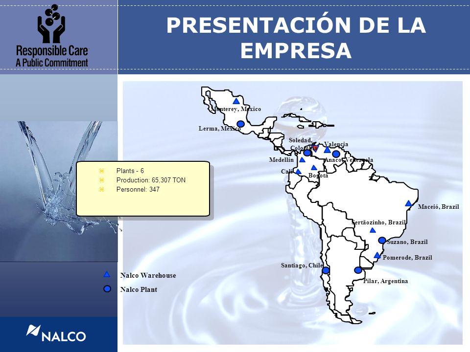 3 PRESENTACIÓN DE LA EMPRESA Nalco Plant Nalco Warehouse Lerma, Mexico Soledad, Colombia Santiago, Chile Pilar, Argentina Suzano, Brazil Anaco, Venezu