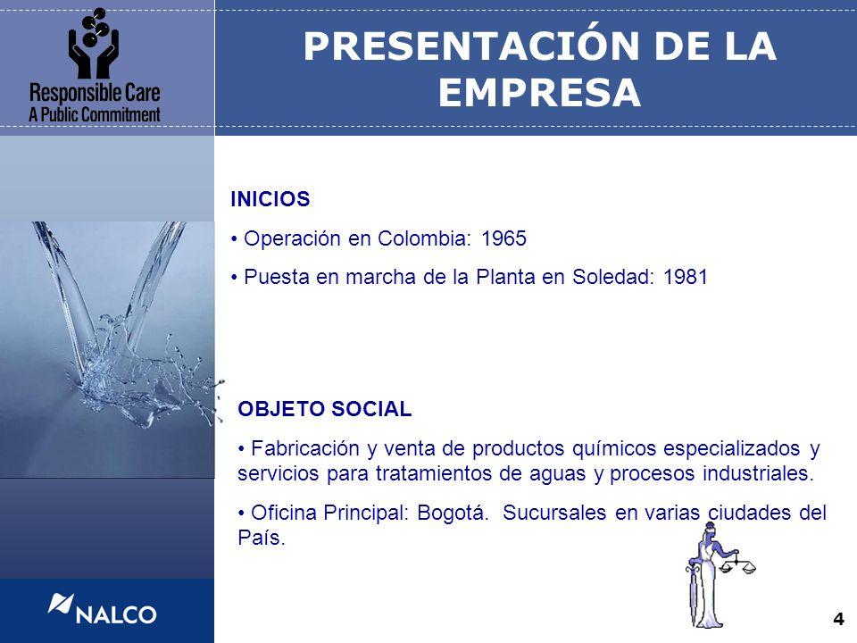 4 PRESENTACIÓN DE LA EMPRESA INICIOS Operación en Colombia: 1965 Puesta en marcha de la Planta en Soledad: 1981 OBJETO SOCIAL Fabricación y venta de p