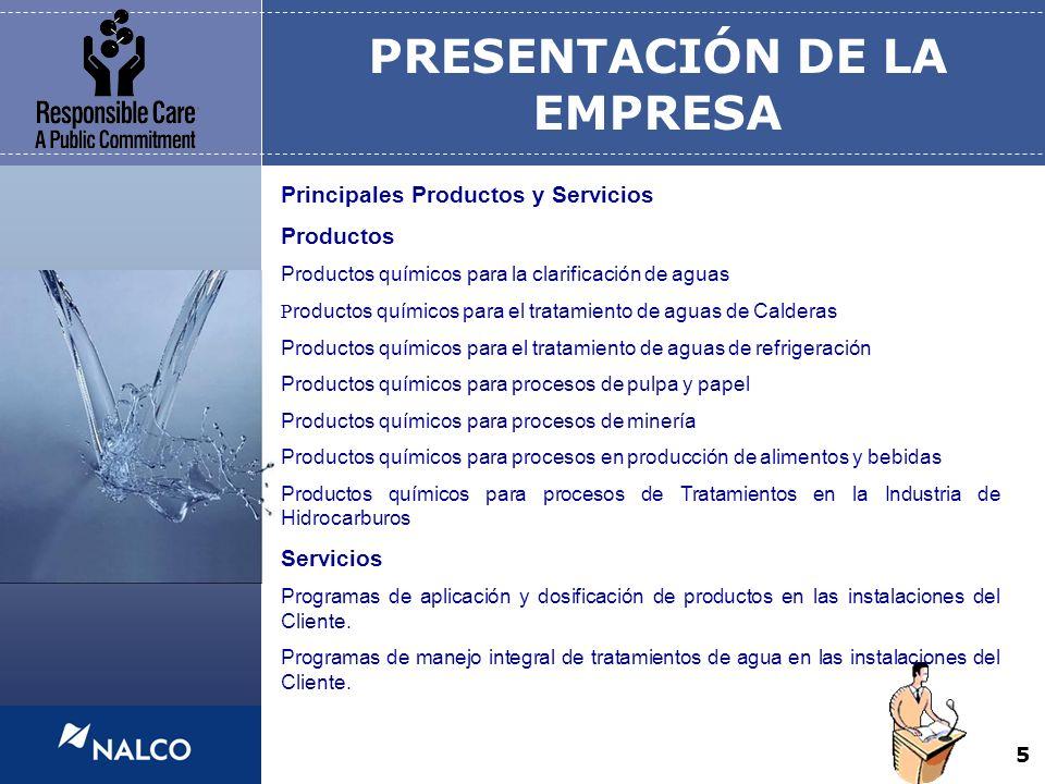 5 PRESENTACIÓN DE LA EMPRESA Principales Productos y Servicios Productos Productos químicos para la clarificación de aguas P roductos químicos para el