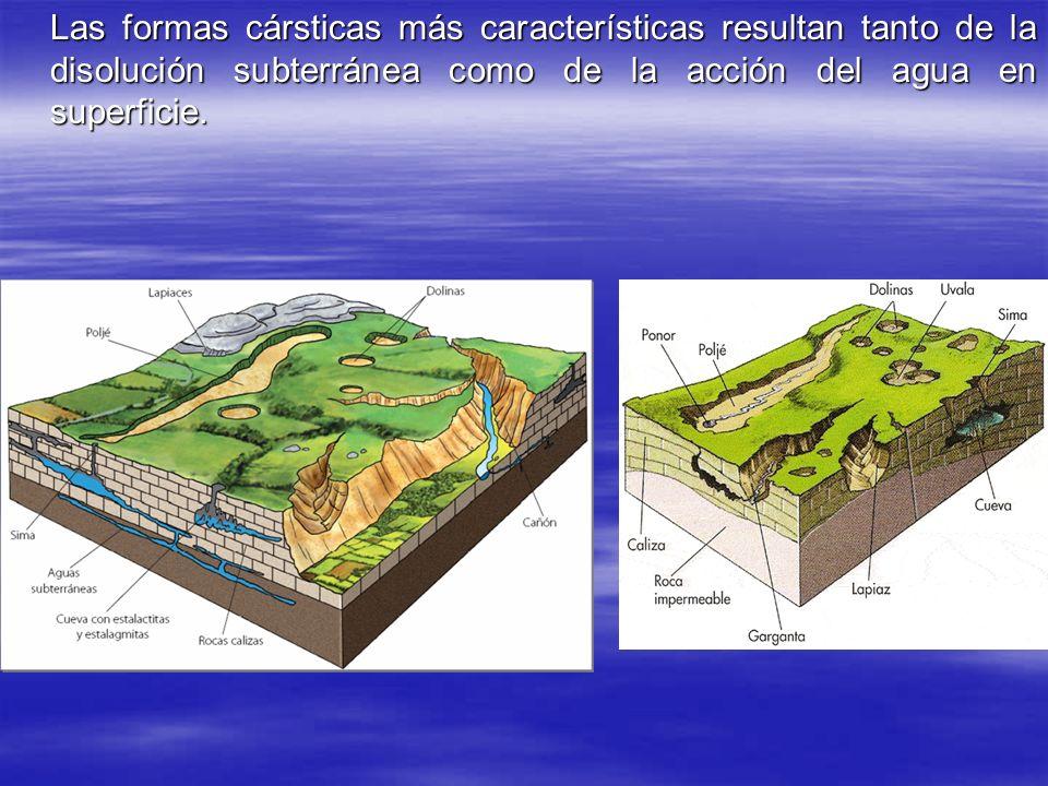 Las formas cársticas más características resultan tanto de la disolución subterránea como de la acción del agua en superficie.