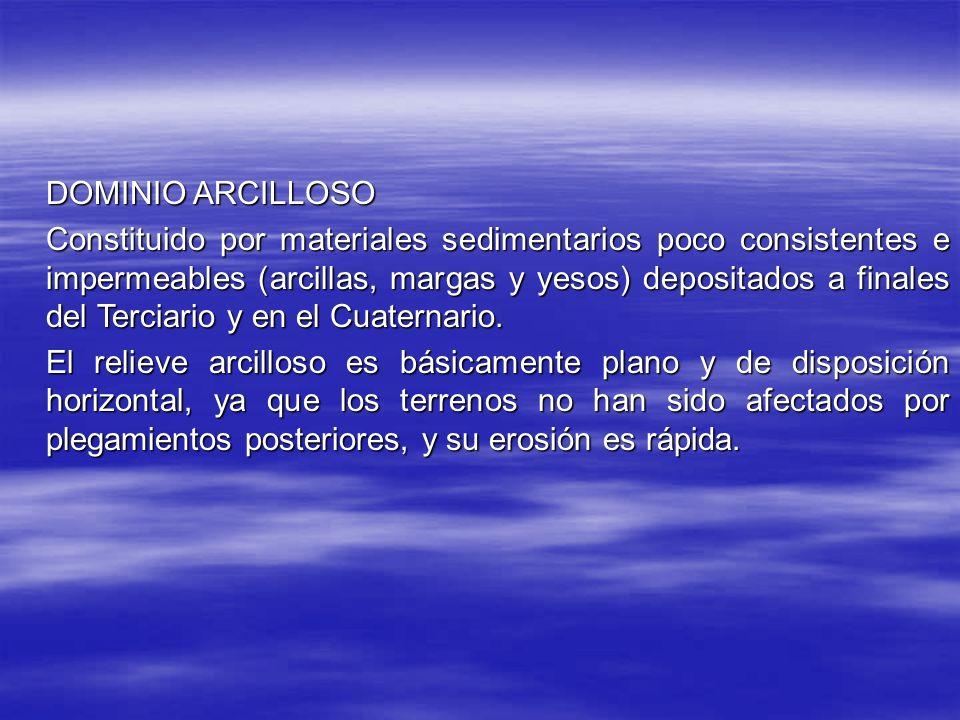 DOMINIO ARCILLOSO Constituido por materiales sedimentarios poco consistentes e impermeables (arcillas, margas y yesos) depositados a finales del Terciario y en el Cuaternario.