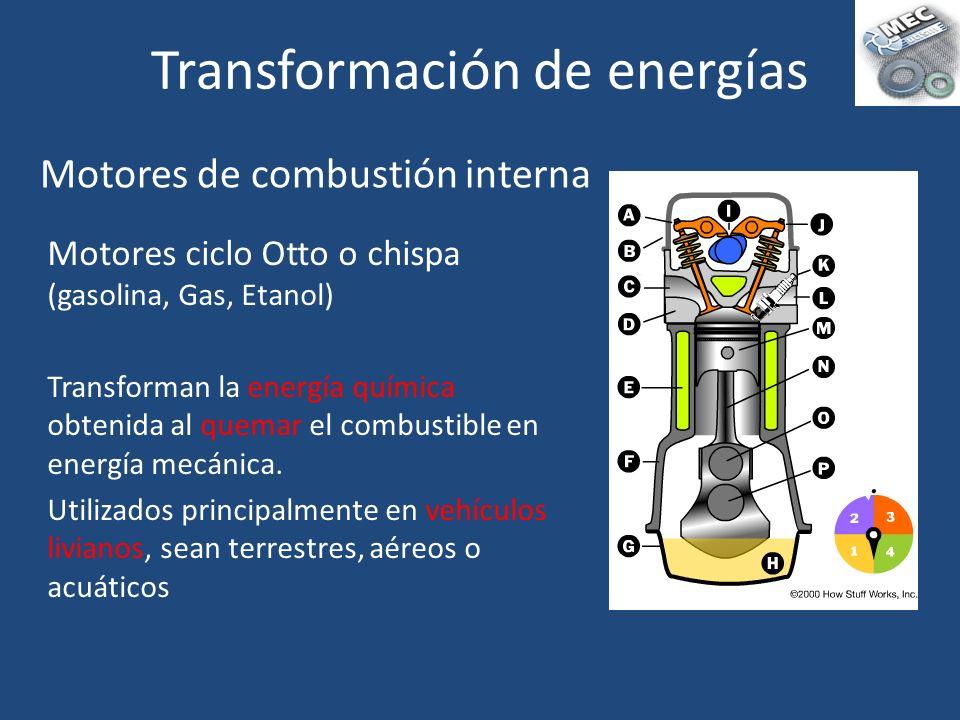 Motores ciclo Otto o chispa (gasolina, Gas, Etanol) Transforman la energía química obtenida al quemar el combustible en energía mecánica. Utilizados p