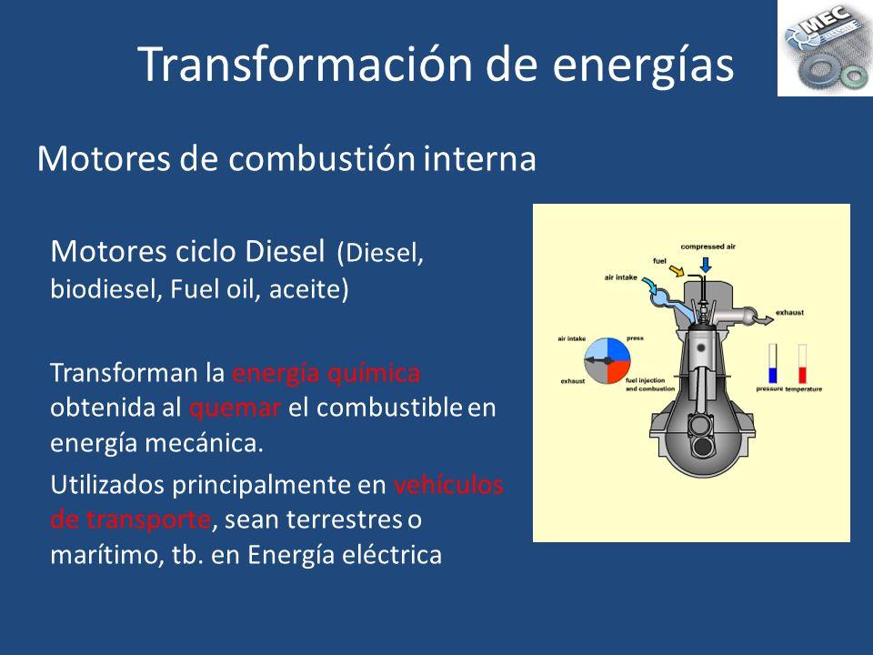 Motores ciclo Diesel (Diesel, biodiesel, Fuel oil, aceite) Transforman la energía química obtenida al quemar el combustible en energía mecánica. Utili