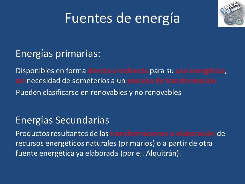 Energías primarias: Disponibles en forma directa o indirecta para su uso energético, sin necesidad de someterlos a un proceso de transformación. Puede