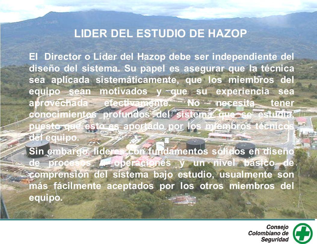LIDER DEL ESTUDIO DE HAZOP El Director o Líder del Hazop debe ser independiente del diseño del sistema. Su papel es asegurar que la técnica sea aplica