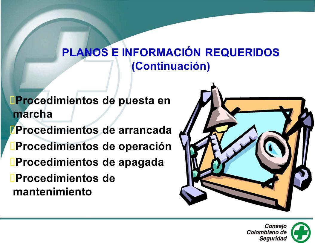 PLANOS E INFORMACIÓN REQUERIDOS (Continuación) Procedimientos de puesta en marcha Procedimientos de arrancada Procedimientos de operación Procedimient
