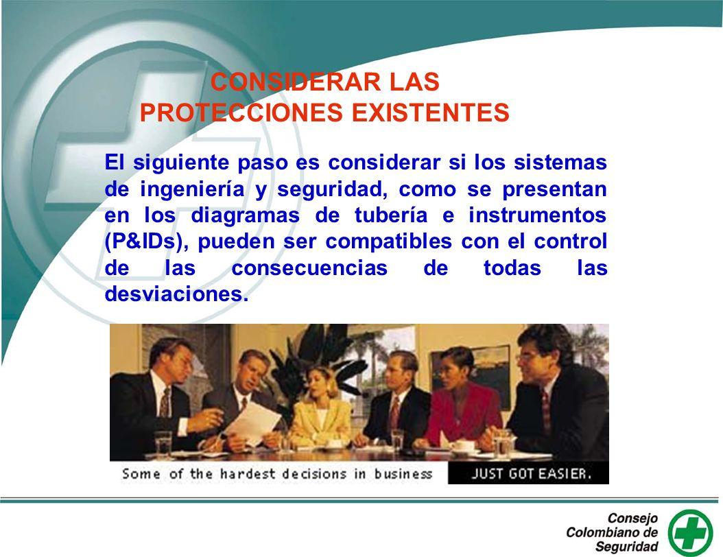 CONSIDERAR LAS PROTECCIONES EXISTENTES El siguiente paso es considerar si los sistemas de ingeniería y seguridad, como se presentan en los diagramas d
