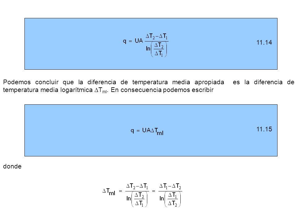11.1511.14 Podemos concluir que la diferencia de temperatura media apropiada es la diferencia de temperatura media logarítmica T ml. En consecuencia p