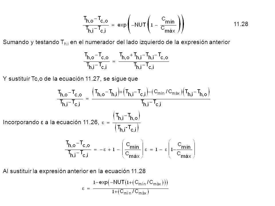Sumando y testando T h,i en el numerador del lado izquierdo de la expresión anterior Y sustituir Tc,o de la ecuación 11.27, se sigue que Incorporando