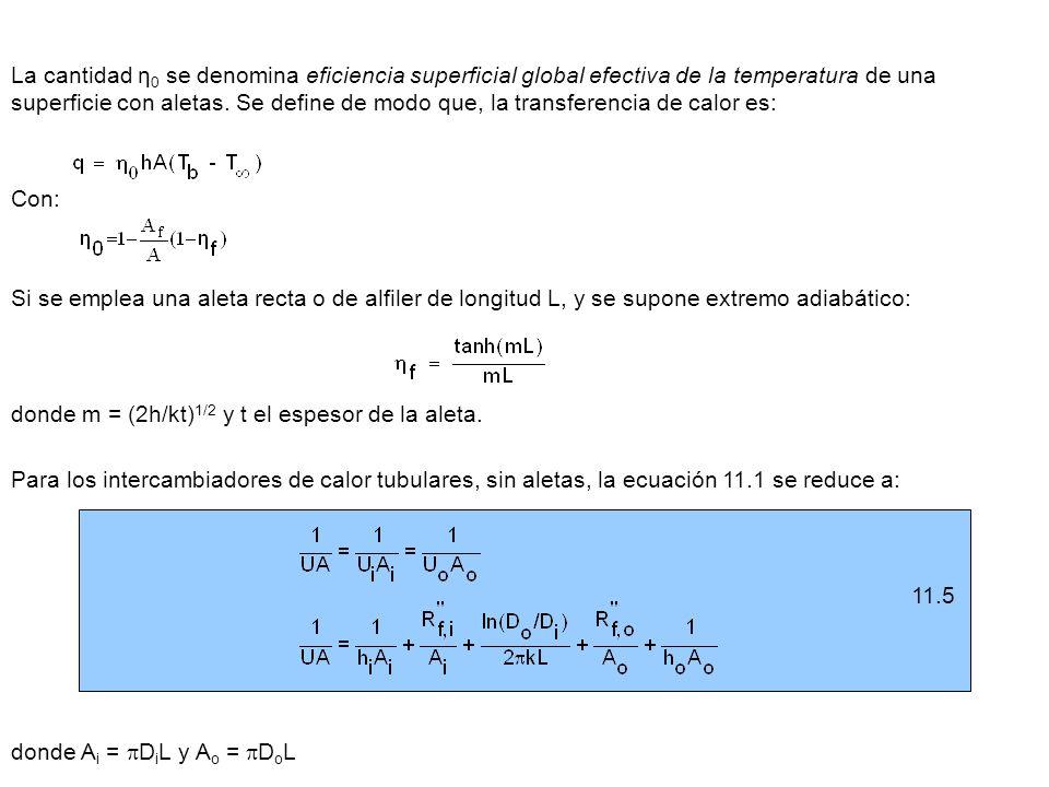 11.5 La cantidad η 0 se denomina eficiencia superficial global efectiva de la temperatura de una superficie con aletas. Se define de modo que, la tran