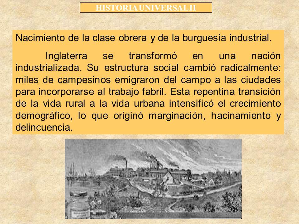 HISTORIA UNIVERSAL II Nacimiento de la clase obrera y de la burguesía industrial.