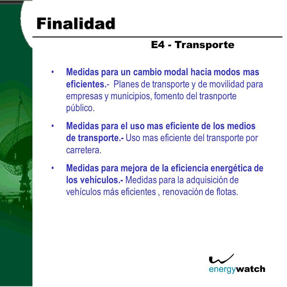 Finalidad Medidas para un cambio modal hacia modos mas eficientes. - Planes de transporte y de movilidad para empresas y municipios, fomento del trasn