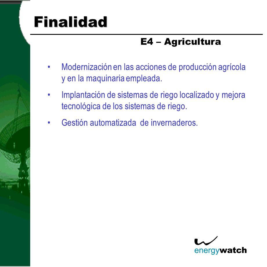 Finalidad Modernización en las acciones de producción agrícola y en la maquinaria empleada. Implantación de sistemas de riego localizado y mejora tecn
