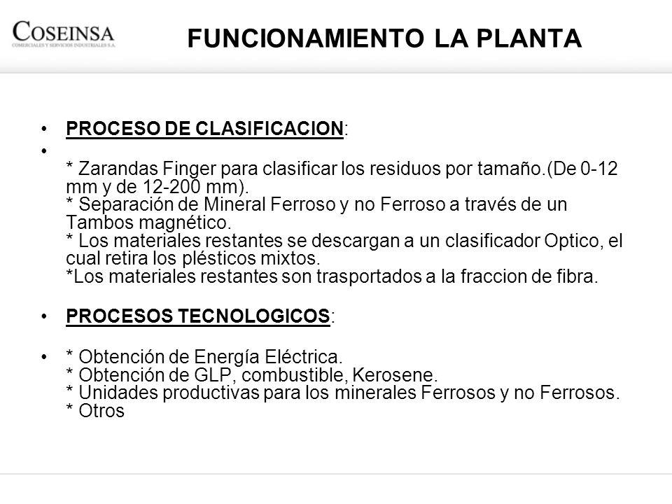 FUNCIONAMIENTO LA PLANTA PROCESO DE CLASIFICACION: * Zarandas Finger para clasificar los residuos por tamaño.(De 0-12 mm y de 12-200 mm). * Separación