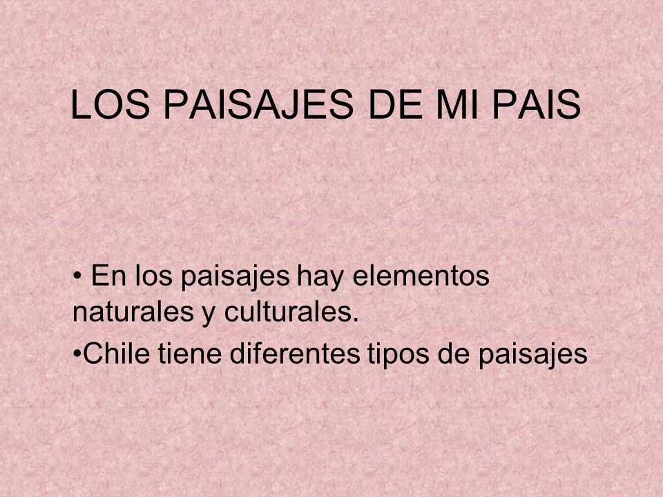 LOS PAISAJES DE MI PAIS En los paisajes hay elementos naturales y culturales. Chile tiene diferentes tipos de paisajes