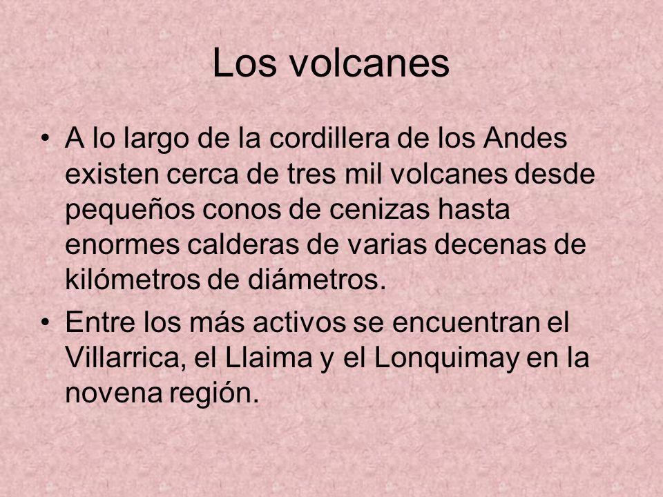 Los volcanes A lo largo de la cordillera de los Andes existen cerca de tres mil volcanes desde pequeños conos de cenizas hasta enormes calderas de varias decenas de kilómetros de diámetros.