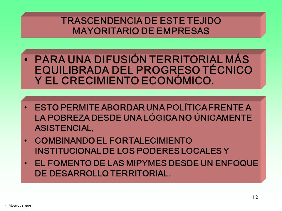 12 TRASCENDENCIA DE ESTE TEJIDO MAYORITARIO DE EMPRESAS PARA UNA DIFUSIÓN TERRITORIAL MÁS EQUILIBRADA DEL PROGRESO TÉCNICO Y EL CRECIMIENTO ECONÓMICO.