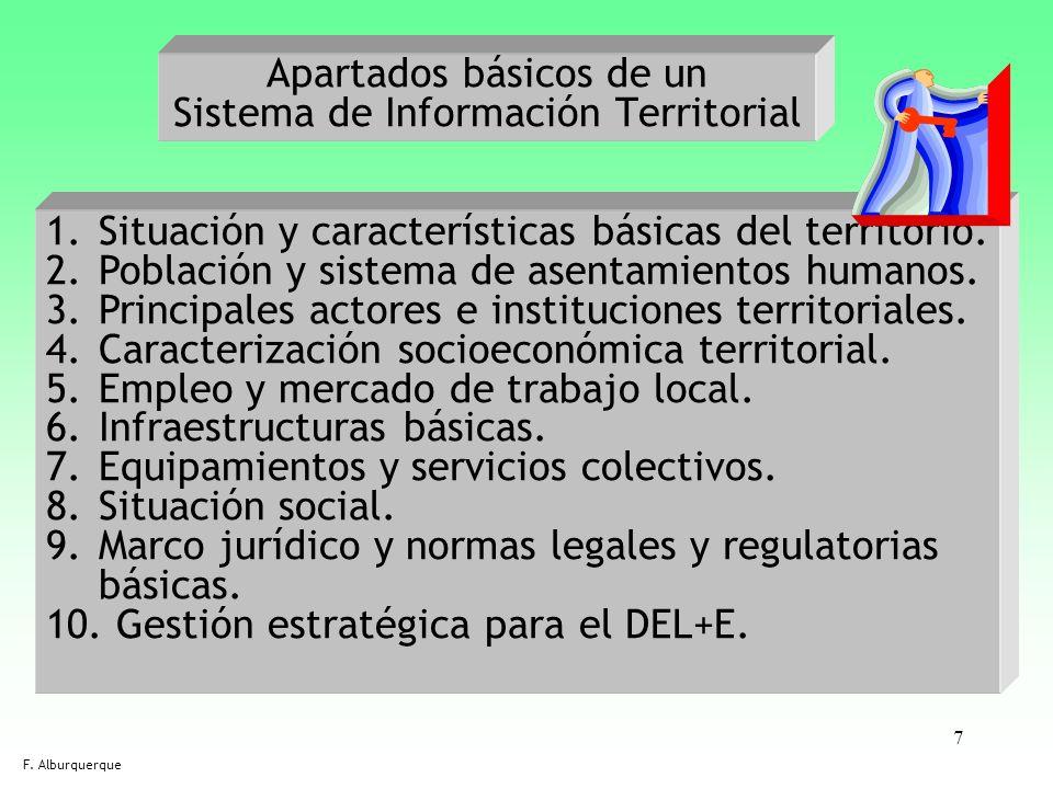7 Apartados básicos de un Sistema de Información Territorial F. Alburquerque 1.Situación y características básicas del territorio. 2.Población y siste