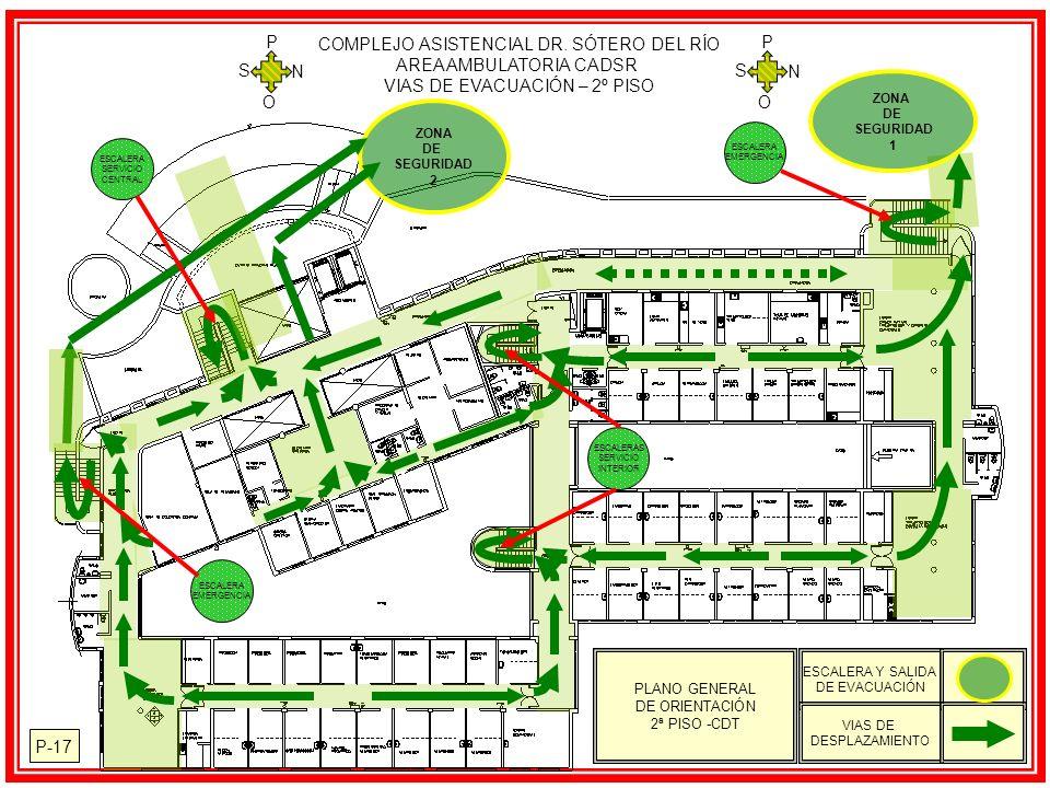 ZONA DE SEGURIDAD 1 ZONA DE SEGURIDAD 2 P-17 PLANO GENERAL DE ORIENTACIÓN 2ª PISO -CDT ESCALERA Y SALIDA DE EVACUACIÓN VIAS DE DESPLAZAMIENTO COMPLEJO ASISTENCIAL DR.