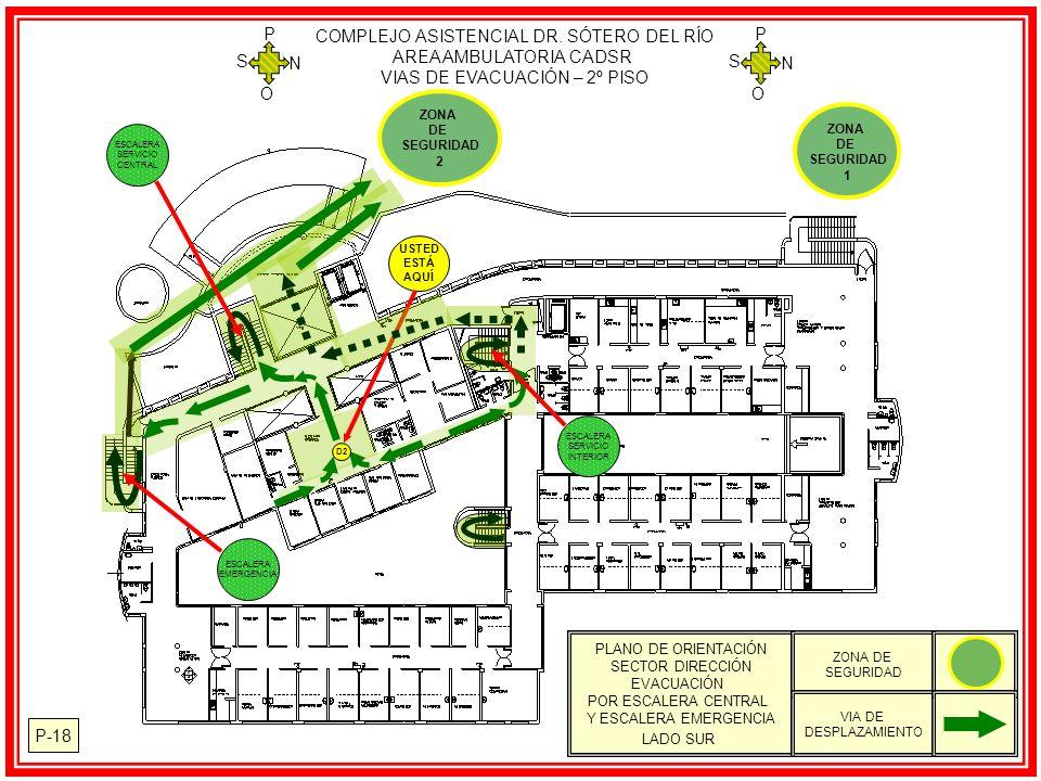 P-18 PLANO DE ORIENTACIÓN SECTOR DIRECCIÓN EVACUACIÓN POR ESCALERA CENTRAL Y ESCALERA EMERGENCIA LADO SUR ZONA DE SEGURIDAD VIA DE DESPLAZAMIENTO ZONA DE SEGURIDAD 2 USTED ESTÁ AQUÍ D2 COMPLEJO ASISTENCIAL DR.