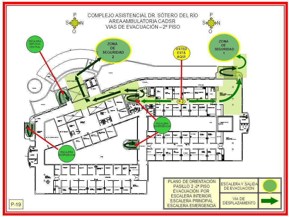 P-19 PLANO DE ORIENTACIÓN PASILLO 2 -2ª PISO EVACUACIÓN POR ESCALERA INTERIOR, ESCALERA PRINCIPAL ESCALERA EMERGENCIA ESCALERA Y SALIDA DE EVACUACIÓN VIA DE DESPLAZAMIENTO ZONA DE SEGURIDAD 1 ZONA DE SEGURIDAD 2 USTED ESTÁ AQUÍ P-2 COMPLEJO ASISTENCIAL DR.