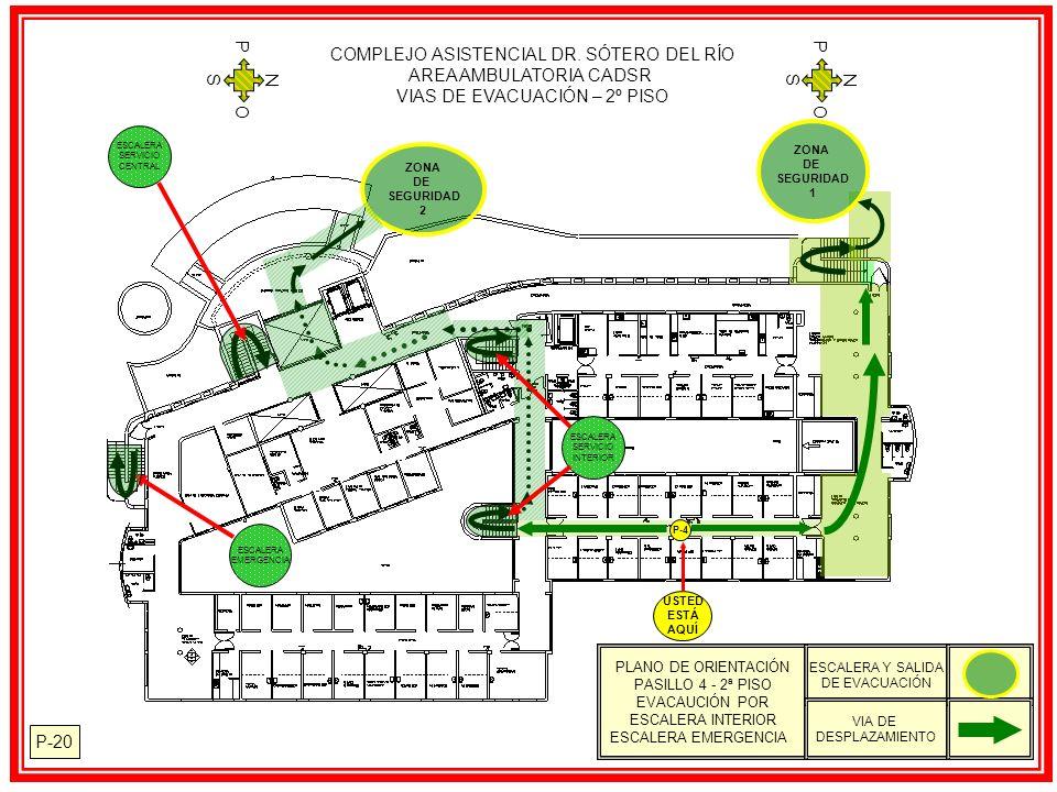 COMPLEJO ASISTENCIAL DR. SÓTERO DEL RÍO AREA AMBULATORIA CADSR VIAS DE EVACUACIÓN – 2º PISO N S O P N S O P P-20 PLANO DE ORIENTACIÓN PASILLO 4 - 2ª P