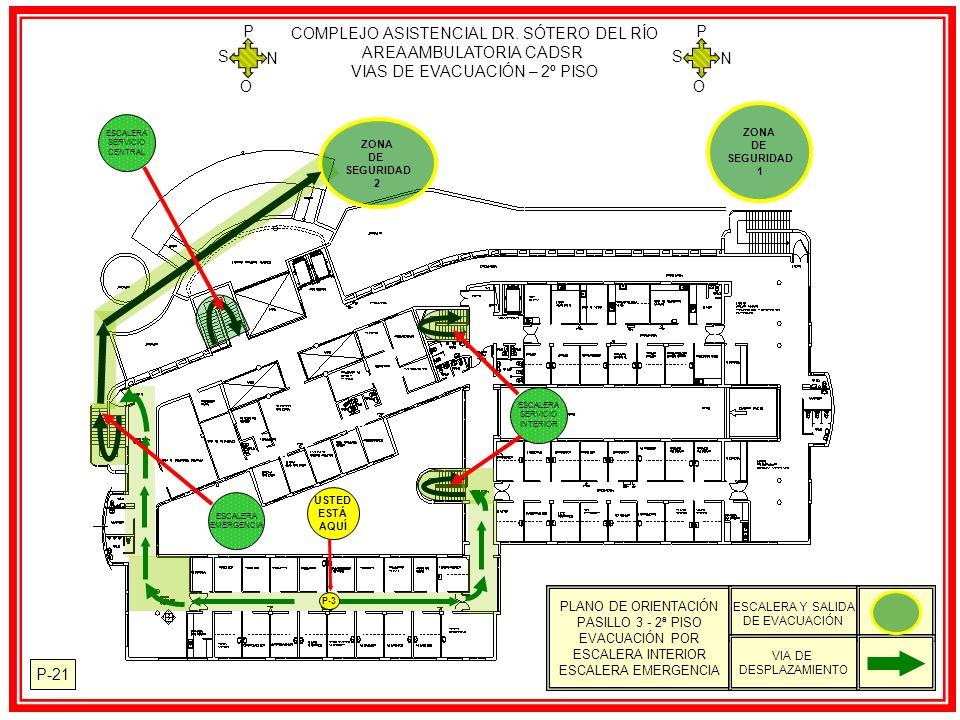 P-21 ZONA DE SEGURIDAD 1 ZONA DE SEGURIDAD 2 USTED ESTÁ AQUÍ P-3 COMPLEJO ASISTENCIAL DR. SÓTERO DEL RÍO AREA AMBULATORIA CADSR VIAS DE EVACUACIÓN – 2