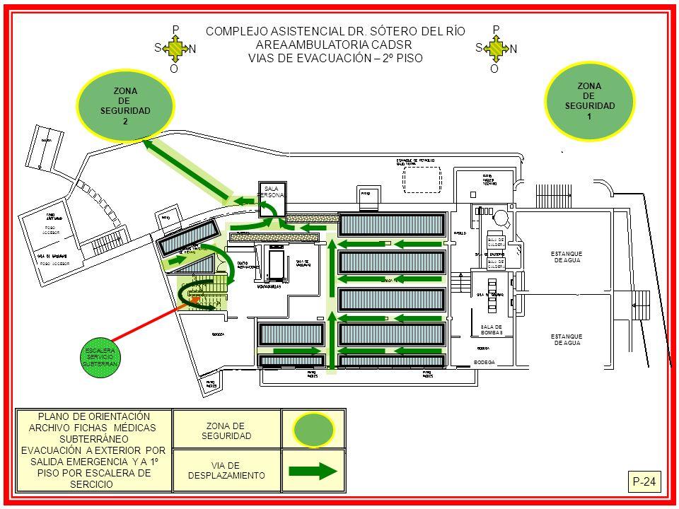 P-24 COMPLEJO ASISTENCIAL DR. SÓTERO DEL RÍO AREA AMBULATORIA CADSR VIAS DE EVACUACIÓN – 2º PISO N S O P N S O P SALA PERSONAL ZONA DE SEGURIDAD 2 EST