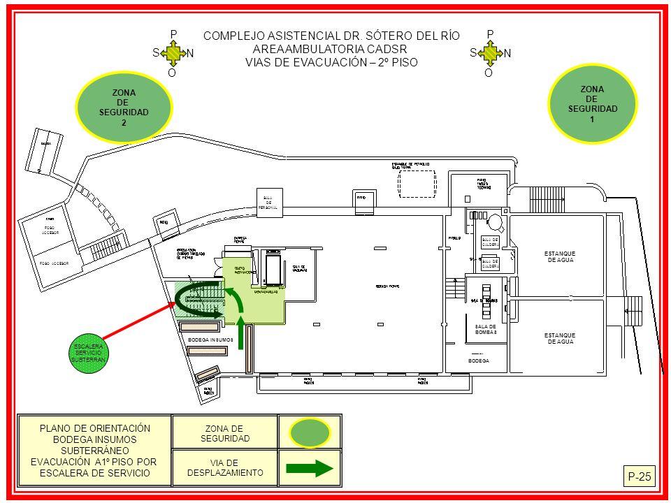 P-25 COMPLEJO ASISTENCIAL DR. SÓTERO DEL RÍO AREA AMBULATORIA CADSR VIAS DE EVACUACIÓN – 2º PISO N S O P N S O P ESCALERA SERVICIO SUBTERRAN SALA DE P