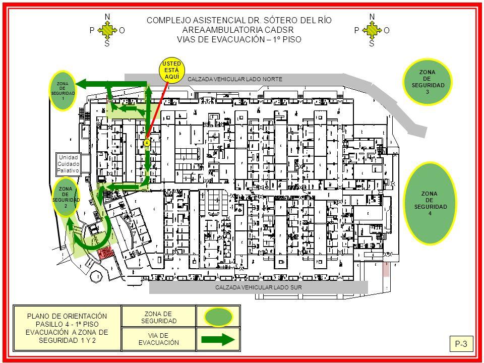 COMPLEJO ASISTENCIAL DR. SÓTERO DEL RÍO AREA AMBULATORIA CADSR VIAS DE EVACUACIÓN – 1º PISO N S O P N S O P P-3 CALZADA VEHICULAR LADO NORTE Unidad Cu
