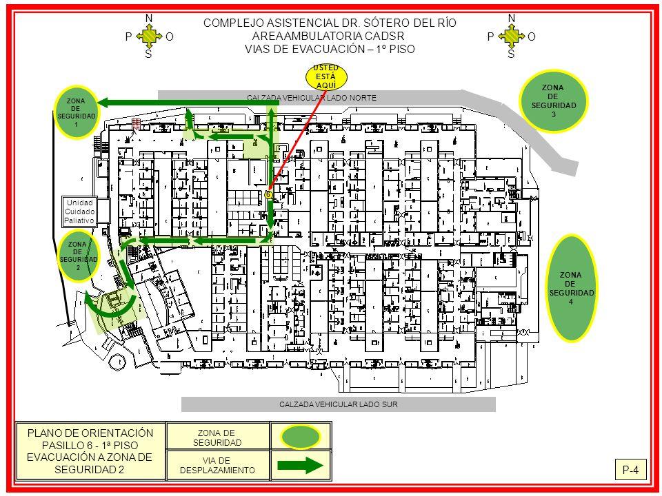 COMPLEJO ASISTENCIAL DR. SÓTERO DEL RÍO AREA AMBULATORIA CADSR VIAS DE EVACUACIÓN – 1º PISO N S O P N S O P P-4 PLANO DE ORIENTACIÓN PASILLO 6 - 1ª PI